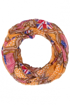Womens Stylish British and American Flags Print Voile Scarf Khaki