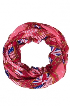 Womens Stylish British and American Flags Print Voile Scarf Red