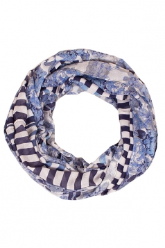 Womens Stylish Water Ripples Print Voile Scarf Blue