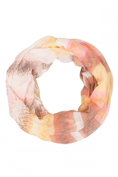 Womens Stylish Water Ripples Print Voile Scarf Pink