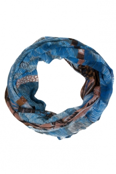 Womens Stylish Leopard Print Voile Scarf Blue