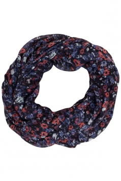 Womens Stylish Floral Print Voile Scarf Black