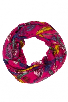 Womens Stylish Bird Feather Print Voile Scarf Rose Red