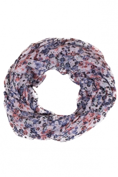 Womens Stylish Floral Print Voile Scarf White