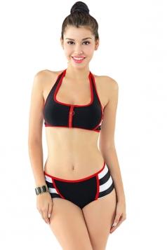 Womens Halter Zipper Bikini Top & Color Block Swimwear Bottom Black