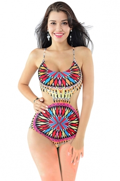 Womens Sexy Colorful Ethnic Print Monokini Red