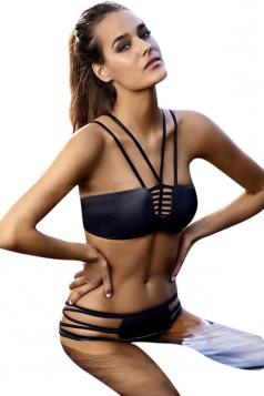 Womens Plain Sexy Strap Bikini Top & Swimwear Bottom Black