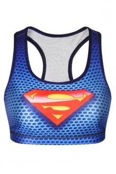 Womens Stylish U Neck Superhero Printed Tank Crop Top Blue