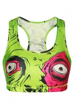Womens Eyes 3D Printed Tank Crop Top Green