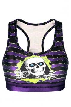 Womens Gothic U Neck Skulls Printed Tank Crop Top Purple