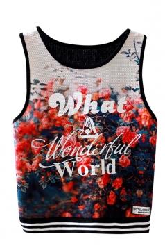 Womens Sleeveless High Waist Floral Printed Crop Tank Top Red