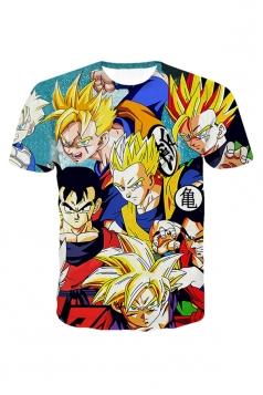 Womens Classic Dragon Ball Z Cool Gohan Stylish 3D T-Shirt Blue