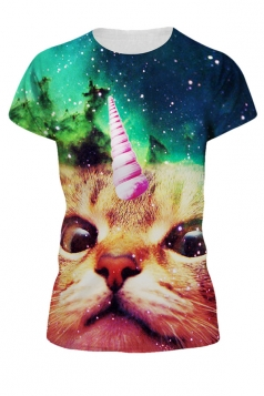 Womens Galaxy Unicorn Cat 3D Printed Crewneck T-Shirt Green