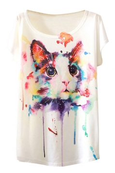 Womens Crew Neck Short Sleeve Colorful Cat Print Loose T-shirt White