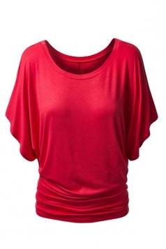 Womens Stylish Plain Boat Neck Batwing Sleeve T-shirt Red