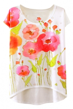 Womens Short Sleeve Crew Neck Floral Printed High Low T-shirt White