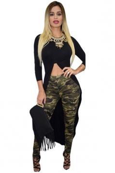 Womens Crew Neck Long Sleeve Ruffle High Low Crop T-shirt Black