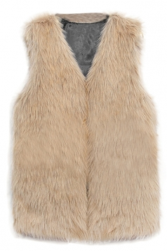 Womens Faux Fur V Neck Sleeveless Vest Coat Brown