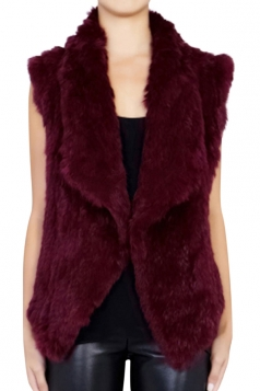 Womens Stylish Turndown Collar Sleeveless Faux Rabbit Fur Vest Ruby