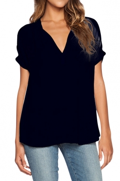 Womens Plain V Neck See Through Short Sleeve Chiffon Blouse Black