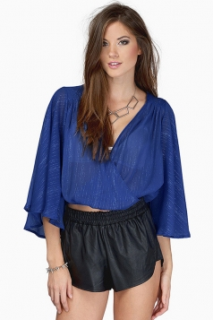 Womens Sexy Deep V Neck See Through Flare Sleeve Crop Blouse Blue