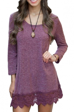 Womens Plain Round Neck Long Sleeve Lace Hem Dress Purple