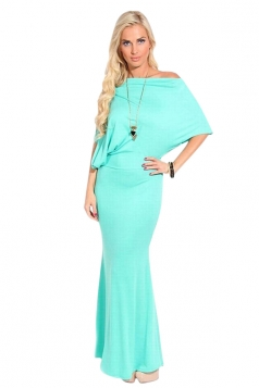 Womens Plain Off Shoulder Batwing Sleeve Slim Maxi Dress Green
