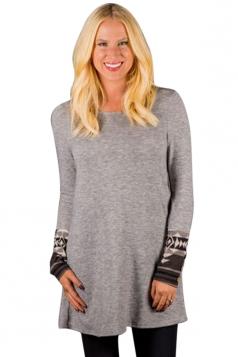 Womens Long Sleeve Round Neck Geometric Pattern Dress Light Gray