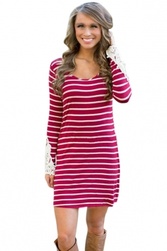 Womens Round Neck Long Sleeve Striped Lace Patchwork Dress Red