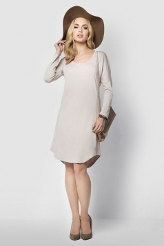 Womens Loose Scoop Neck Long Sleeve Shift Dress Beige White