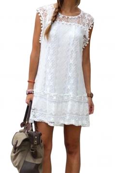 Womens Loose Crew Neck Short Sleeve Lace Clubwear Dress White