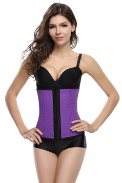 Womens Sexy Hollow Out Breathable Waist Training Corset Purple