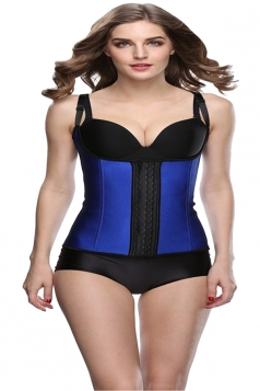 Womens Adjustable Straps Glossy Waist Training Corset Blue