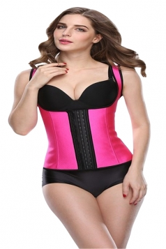 Womens Wide Straps Glossy Waist Training Corset Rose Red