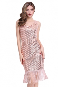 Womens Sexy Full Sequined Geometric Pattern Fringed Tank Dress Pink