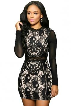 Womens Sexy Mesh Long Sleeve Lace Floral Mini Dress Black