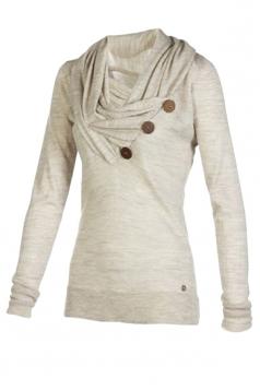 Womens Cowl Neck Long Sleeve Button Design Draped Sweatshirt Gray