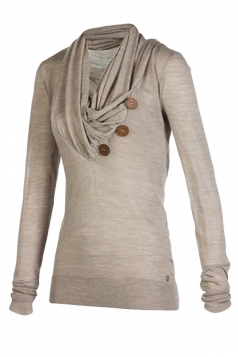 Womens Cowl Neck Long Sleeve Button Design Draped Sweatshirt Khaki