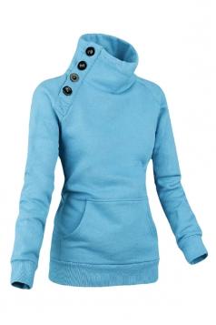 Womens Long Sleeves High Neck Buttons Decor Pockets Sweatshirt Blue