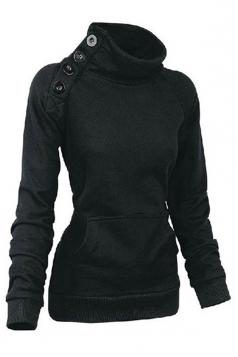 Womens Long Sleeves High Neck Buttons Decor Pockets Sweatshirt Black