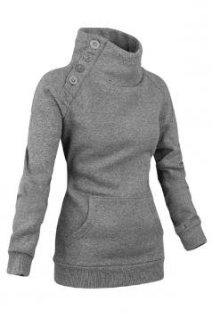 Womens Long Sleeves High Neck Buttons Decor Pockets Sweatshirt Gray