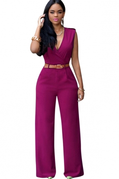 Womens Deep V Neck Sleeveless High Waist Wide Leg Jumpsuit Rose Red