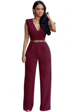 Womens Plain Deep V Neck Sleeveless High Waist Wide Leg Jumpsuit Ruby