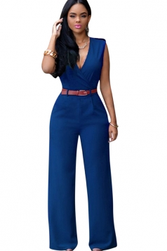 Womens Deep V Neck Sleeveless High Waist Wide Leg Jumpsuit Navy Blue