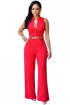 Womens Plain High Waist Single-breasted Belted Wide Leg Jumpsuit Red