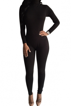 Womens Plain Long Sleeve High Neck Zipper Back Elastic Jumpsuit Black