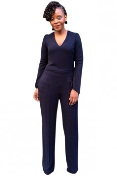 Womens Plain Long Sleeve V-Neck Elastic Jumpsuit Navy Blue