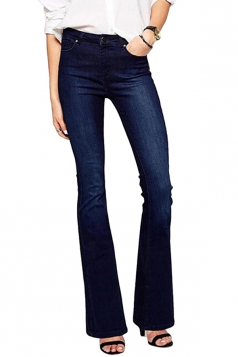 Womens Stylish Single Button Flare Pants Denim Leggings Blue