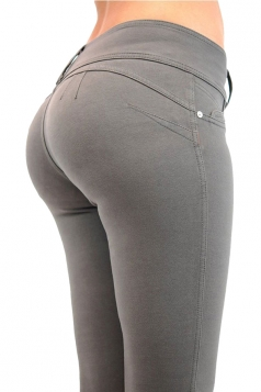 Womens Sexy Stretchy Zipper High Waisted Jeans Gray