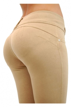 Womens Sexy Stretchy Zipper High Waisted Jeans Khaki